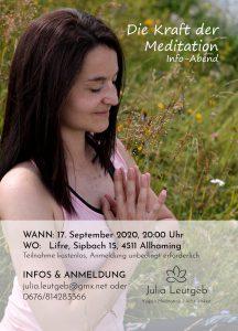 """""""Die Kraft der Meditation"""" Info-Abend am 17.9. um 20.00 Uhr"""