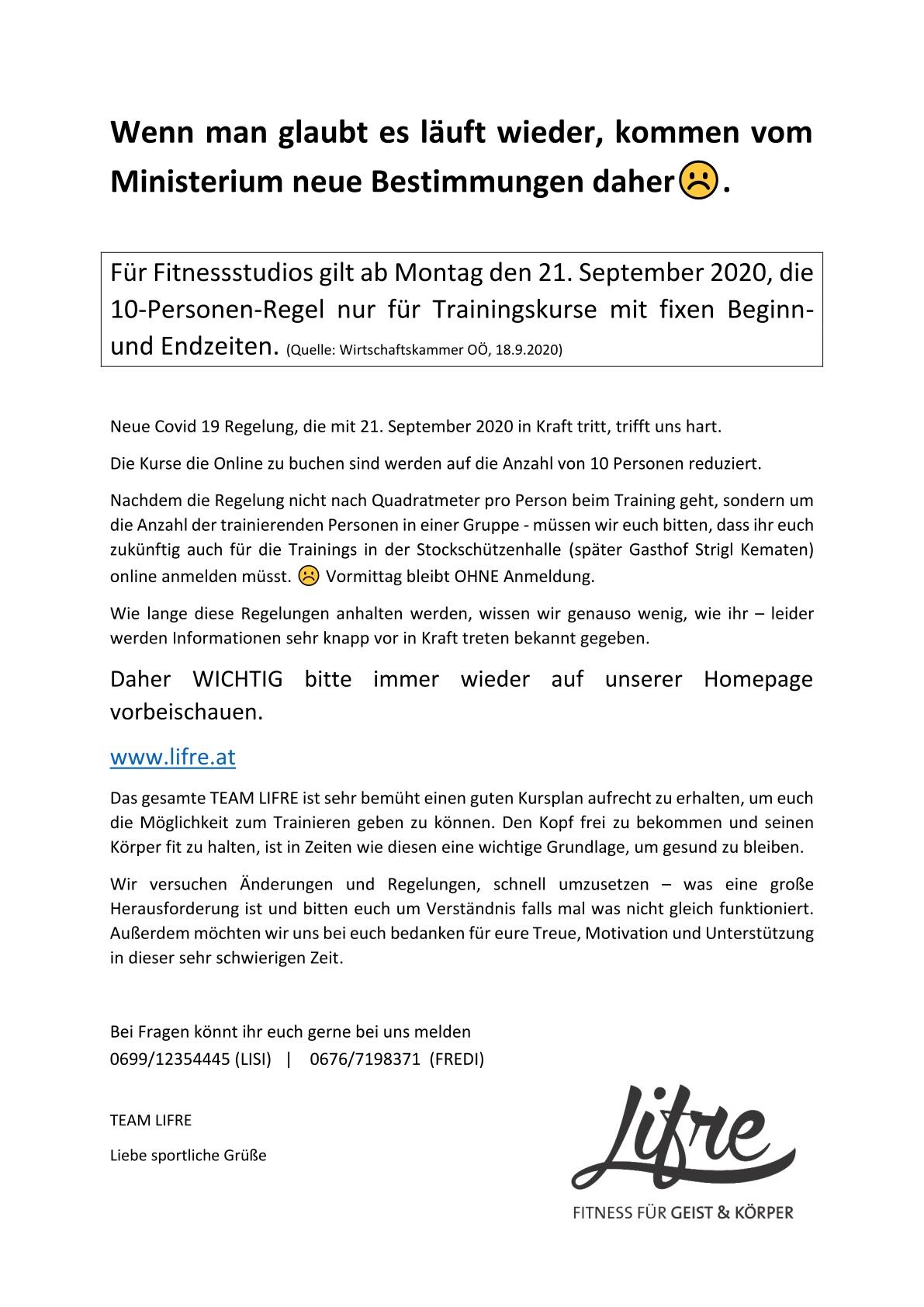 Neuerliche Änderung ab 21.9.2020: 10-Personen-Regel