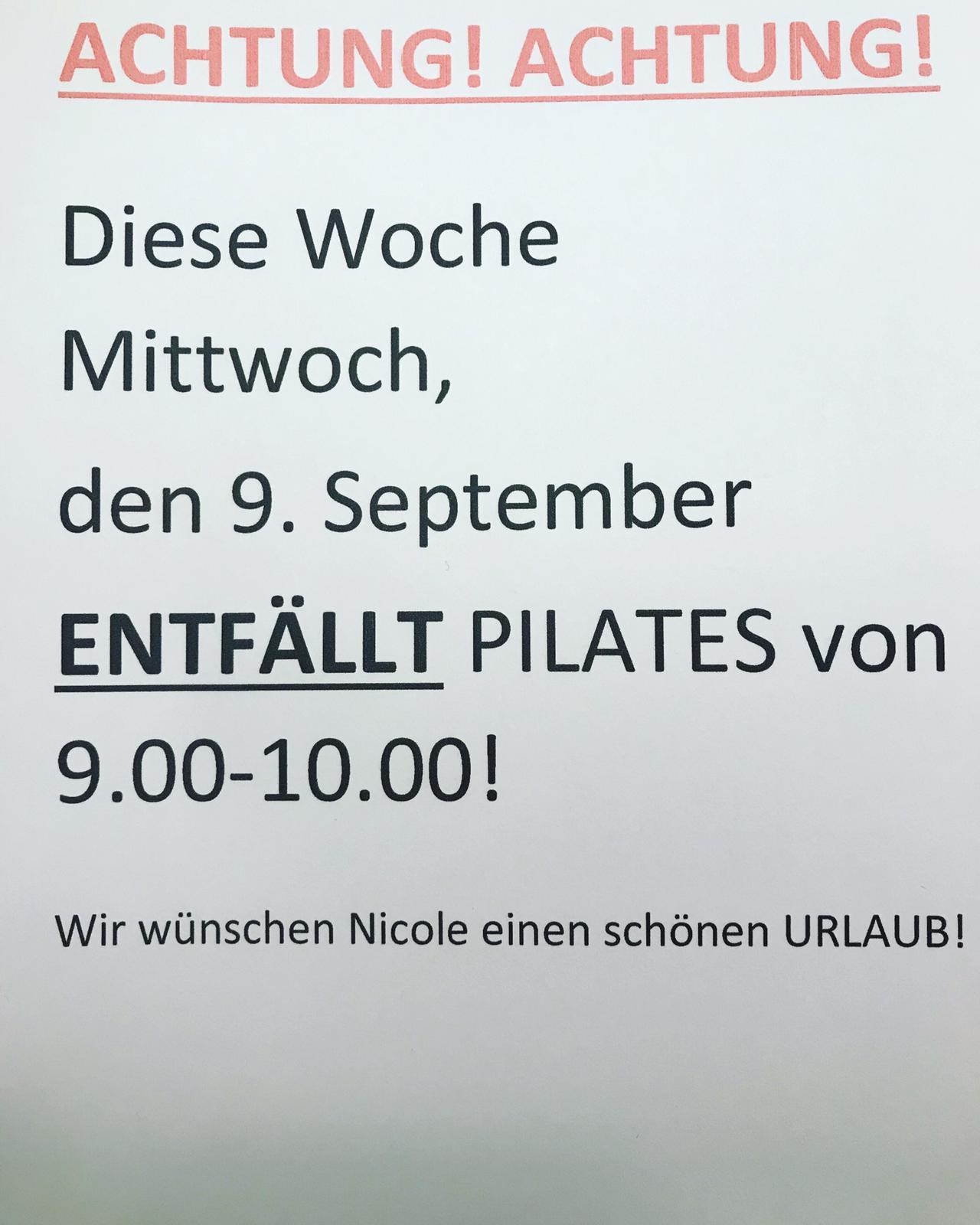 PILATES entfällt am 9.9.2020