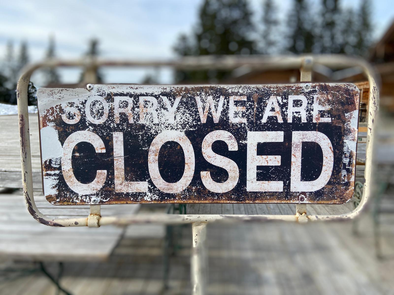 Vorübergehende Schließung ab Montag 26.10.2020